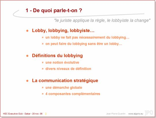 -> Slides : du lobbying à la communication stratégique...